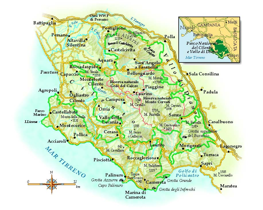 Cilento Region Italy Map.Hotels Alberghi In South Italy Naples Amalfi Capri Ischia